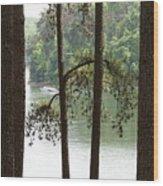 Boating On The Lake Wood Print
