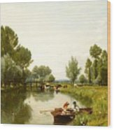 Boating On The Stour Wood Print