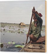 Boatman - Battambang Wood Print