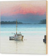 Boats Anchored With Mount Baker, Washington In Background Wood Print
