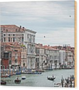 Boats And Gondolas In Grand Canal Wood Print