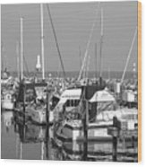 Boats And Reflections B-w Wood Print