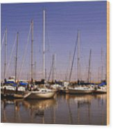 Boats And Reflections Wood Print
