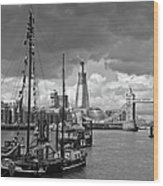 Boats And Shard And Tower Bridge Bw Wood Print