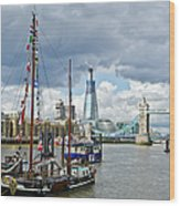 Boats And Shard And Tower Bridge Wood Print