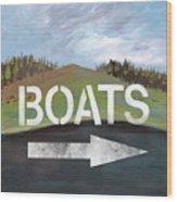 Boats- Art By Linda Woods Wood Print