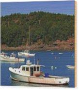 Boats At Bar Harbor Wood Print
