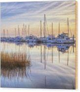 Boats At Calm Wood Print