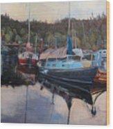 Boats At Dock Heriot Bay Inn Wood Print