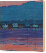 Boats At Dusk Wood Print