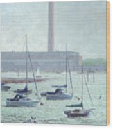 Boats At Fawley Hampshire Wood Print