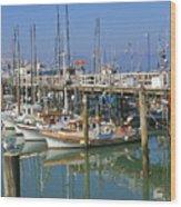 Boats At Fisherman Wood Print