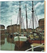 Boats At Gloucester Docks Wood Print