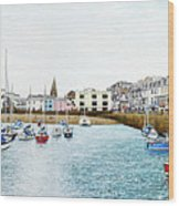 Boats At Ilfracombe Harbour Wood Print