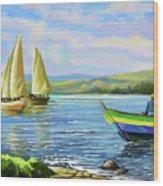 Boats At Lake Victoria Wood Print