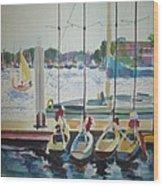 Boats At Marina Del Rey Wood Print