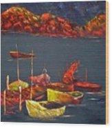Boats At Nightfall Wood Print