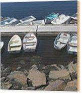 Boats at Perkins Cove Wood Print