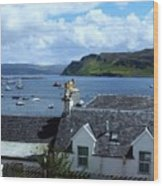 Boats At Portree Wood Print