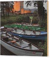Boats At Ross Castle Killarney Ireland Wood Print