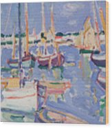 Boats At Royan Wood Print