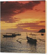Boats At Senggigi Wood Print