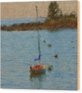Boats At Smugglers Cove Boothbay Harbor Maine Wood Print