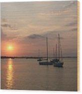 Boats At Sunrise Wood Print