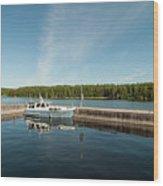 Boats At The Dock Wood Print