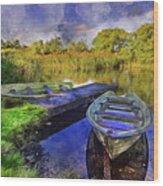 Boats At The Lake Wood Print