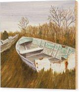 Boats By Causeway Wood Print