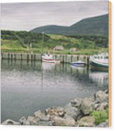 Boats Docked In Harbor Cape Bretton Island ,, Nova Scotia Wood Print