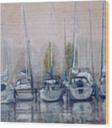 Boats In A Row Wood Print