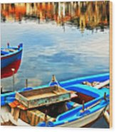 Boats In Autumn Wood Print