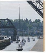 Boats In Ballard Locks Wood Print