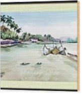 Boats In Beach Wood Print