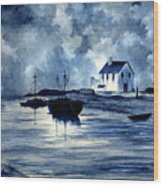 Boats In Blue Wood Print
