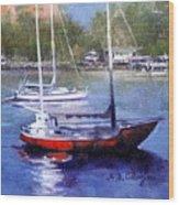boats in Brisbane river Wood Print