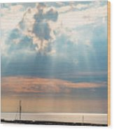 Boats In God Rays Wood Print