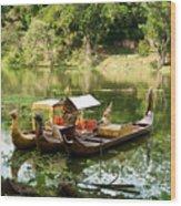 Boats In Lake Ankor Thom Wood Print