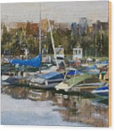 Boats In Montrose Harbor Wood Print