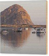 Boats In Morro Rock Reflection Wood Print