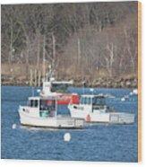 Boats In Rye Harbor Wood Print