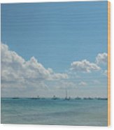 Boats In Shades Of Blue Wood Print