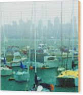 Boats In The Bay Wood Print by Russ Harris