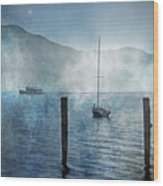 Boats In The Fog Wood Print by Joana Kruse