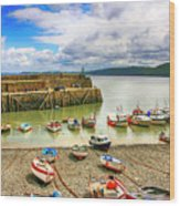 Boats In The Harbor At Clovelly In Devon Wood Print