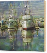Boats In The Harbor Wood Print by Ron Hoggard