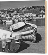 Boats In The Mykonos Old Port Mono Wood Print by John Rizzuto
