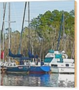 Boats In The Water Wood Print